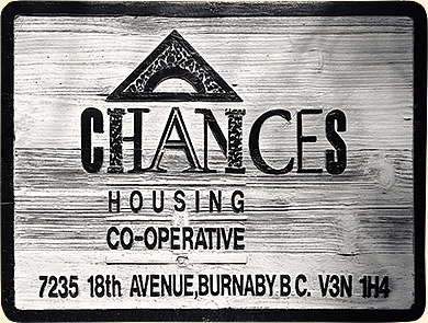 Chances housing co-op street sign