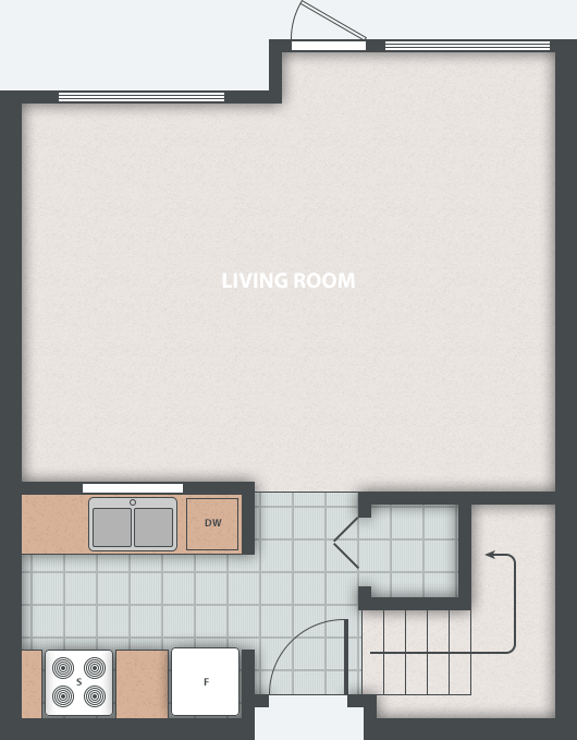 Chances housing co-op. Typical 2 bedroom townhouse floor plan. Ground floor.