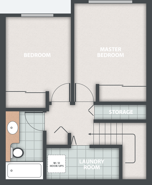 Chances housing co-op. Typical 2 bedroom townhouse floor plan. Upper floor.